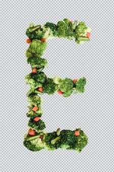 Letra e. estilo de vida e nutrição saudáveis. alfabeto ingles. texto dos produtos. brócolis, aspargos, cenouras. fonte do designer. fonte vegetal. psd