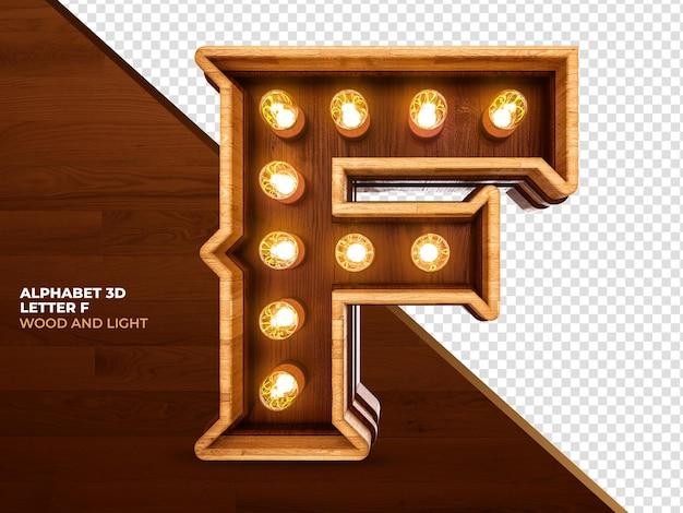 Letra f 3d render madeira com luzes realistas