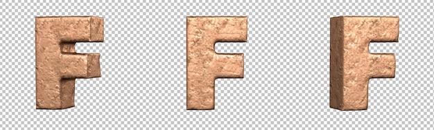 Letra f do conjunto de coleta de alfabeto de letras de cobre. isolado. renderização 3d