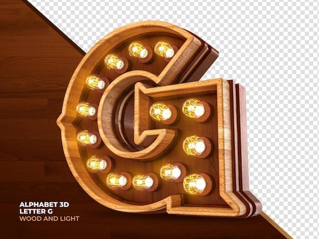 Letra g 3d render madeira com luzes realistas