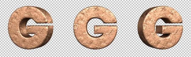 Letra g do conjunto de coleta de alfabeto de letras de cobre. isolado. renderização 3d