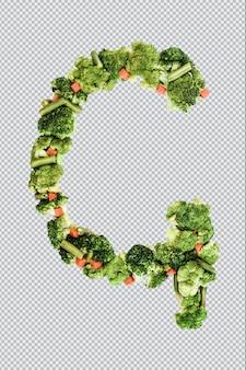 Letra g. estilo de vida e nutrição saudáveis. alfabeto ingles. texto dos produtos. brócolis, aspargos, cenouras. fonte do designer. fonte vegetal. psd