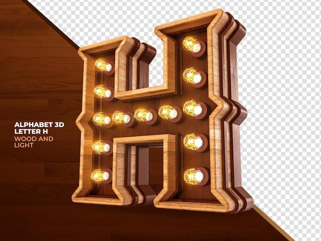 Letra h 3d render madeira com luzes realistas