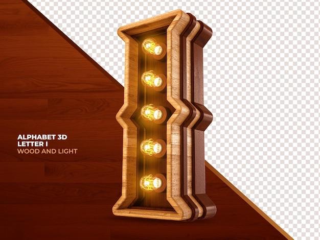 Letra i 3d render madeira com luzes realistas