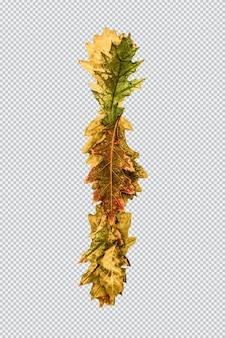 Letra i. alfabeto inglês de folhas de carvalho amarelo no outono. fonte para design. psd