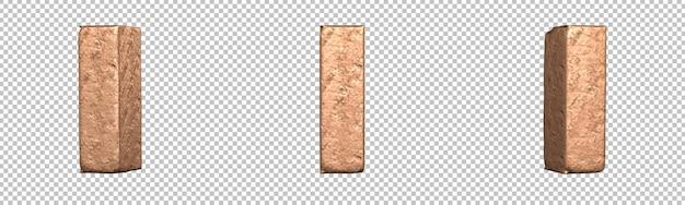 Letra i do conjunto de coleta de alfabeto de letras de cobre. isolado. renderização 3d