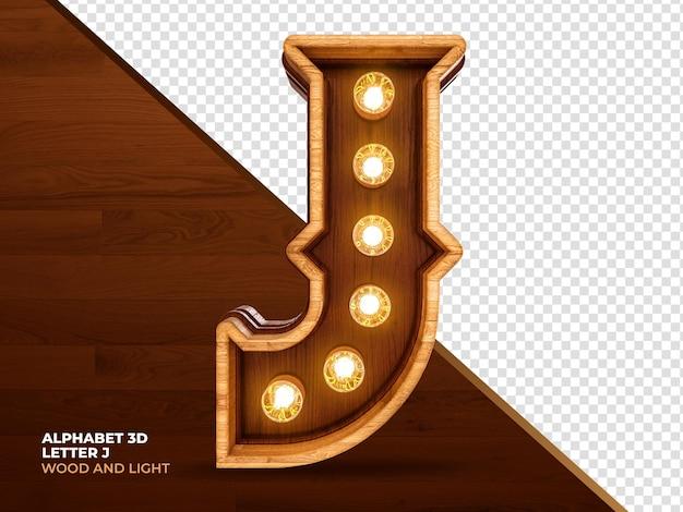 Letra j 3d render madeira com luzes realistas