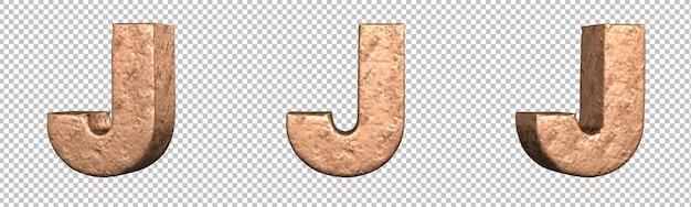 Letra j do conjunto de coleta de alfabeto de letras de cobre. isolado. renderização 3d
