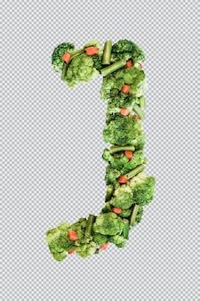 Letra j. estilo de vida e nutrição saudáveis. alfabeto ingles. texto dos produtos. brócolis, aspargos, cenouras. fonte do designer. fonte vegetal. psd