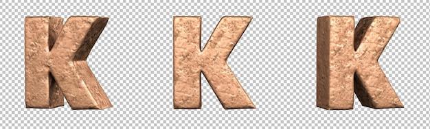 Letra k do conjunto de coleta de alfabeto de letras de cobre. isolado. renderização 3d