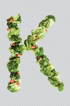 Letra k. estilo de vida saudável e nutrição. alfabeto ingles. texto dos produtos. brócolis, aspargos, cenouras. fonte do designer. fonte vegetal. psd