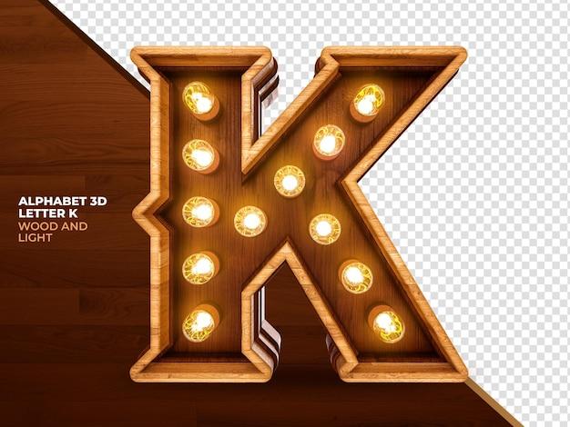 Letra k madeira renderizada em 3d com luzes realistas