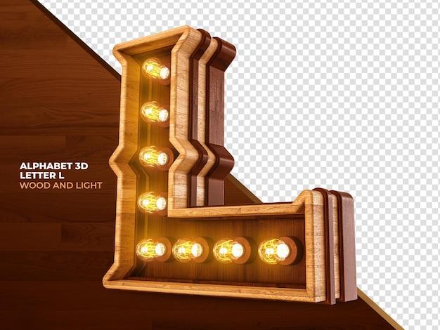 Letra l 3d render madeira com luzes realistas