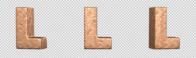 Letra l do conjunto de coleta de alfabeto de letras de cobre. isolado. renderização 3d