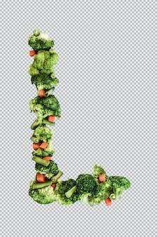 Letra l. estilo de vida e nutrição saudáveis. alfabeto ingles. texto dos produtos. brócolis, aspargos, cenouras. fonte do designer. fonte vegetal. psd