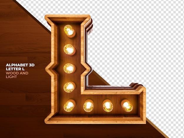 Letra l renderização em 3d de madeira com luzes realistas