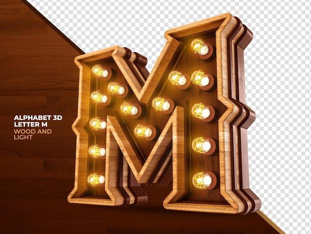 Letra m 3d render madeira com luzes realistas