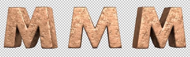 Letra m do conjunto de coleta de alfabeto de letras de cobre. isolado. renderização 3d