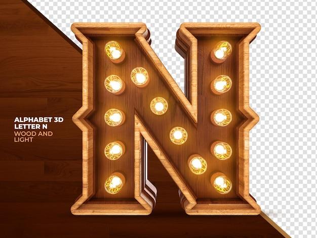 Letra n 3d render madeira com luzes realistas