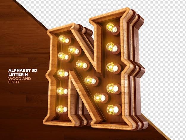 Letra n 3d renderização de madeira com luzes realistas