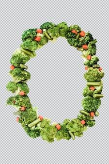 Letra o. estilo de vida saudável e nutrição. alfabeto ingles. texto dos produtos. brócolis, aspargos, cenouras. fonte do designer. fonte vegetal. psd