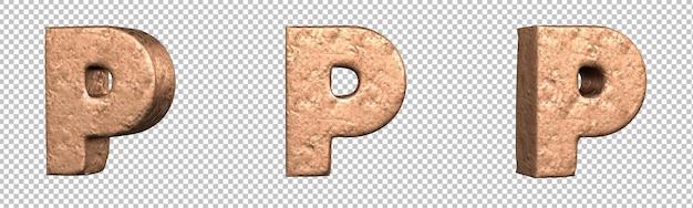 Letra p do conjunto de coleta de alfabeto de letras de cobre. isolado. renderização 3d