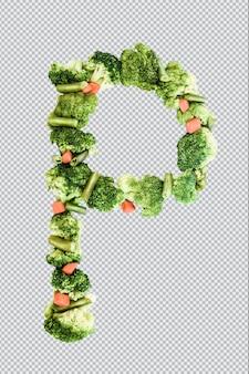 Letra p. estilo de vida e nutrição saudáveis. alfabeto ingles. texto dos produtos. brócolis, aspargos, cenouras. fonte do designer. fonte vegetal. psd