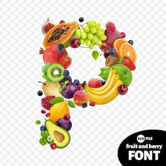 Letra p, símbolo de fonte de frutas