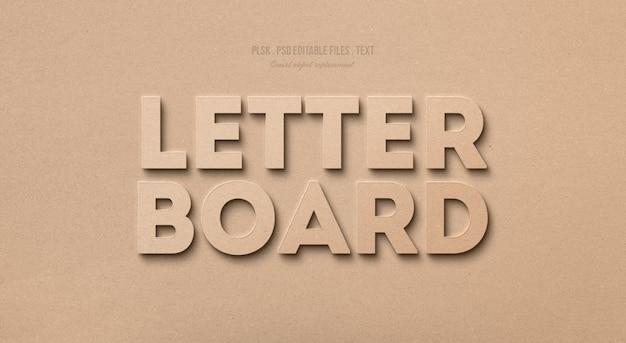 Letra placa efeito de estilo de texto 3d