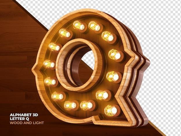 Letra q 3d render madeira com luzes realistas