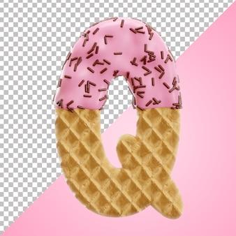 Letra q do alfabeto realista waffle com granulado de chocolate em estilo 3d