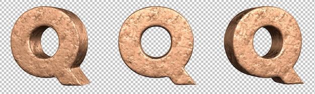 Letra q do conjunto de coleta de alfabeto de letras de cobre. isolado. renderização 3d