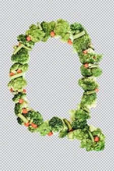 Letra q. estilo de vida e nutrição saudáveis. alfabeto ingles. texto dos produtos. brócolis, aspargos, cenouras. fonte do designer. fonte vegetal. psd