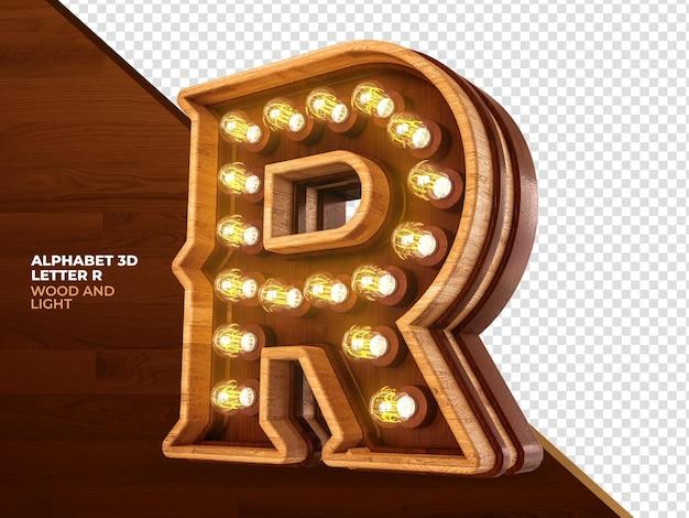 Letra r 3d render madeira com luzes realistas