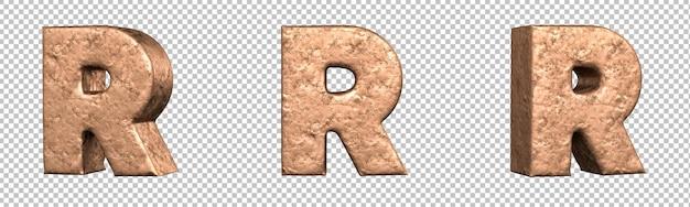 Letra r do conjunto de coleta de alfabeto de letras de cobre. isolado. renderização 3d