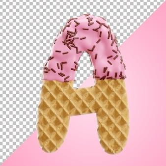 Letra realista e waffle do alfabeto com granulado de chocolate em estilo 3d