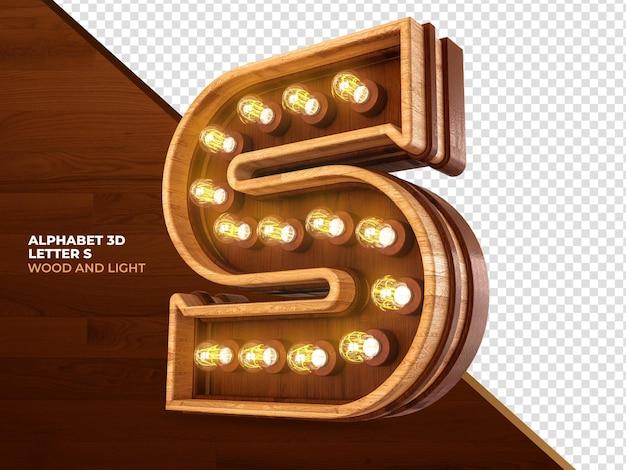 Letra s 3d render madeira com luzes realistas