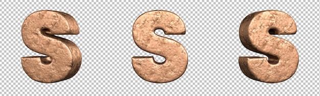 Letra s do conjunto de coleta de alfabeto de letras de cobre. isolado. renderização 3d