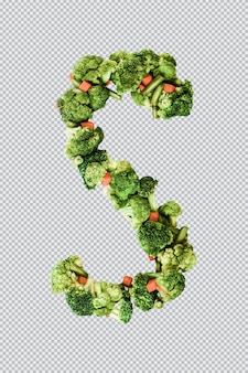Letra s. estilo de vida e nutrição saudáveis. alfabeto ingles. texto dos produtos. brócolis, aspargos, cenouras. fonte do designer. fonte vegetal. psd