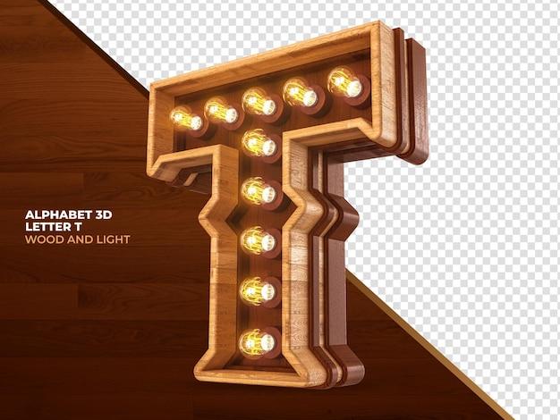 Letra t 3d render madeira com luzes realistas