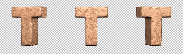 Letra t do conjunto de coleta de alfabeto de letras de cobre. isolado. renderização 3d