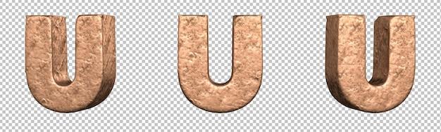 Letra u do conjunto de coleta de alfabeto de letras de cobre. isolado. renderização 3d