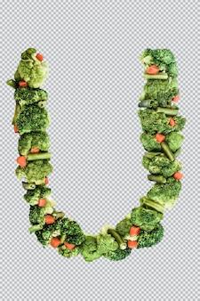 Letra u. nutrição e estilo de vida saudáveis. alfabeto ingles. texto dos produtos. brócolis, aspargos, cenouras. fonte do designer. fonte vegetal. psd