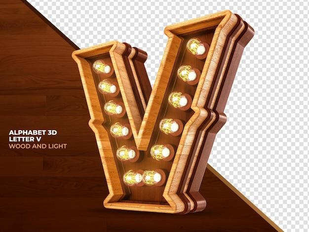 Letra v 3d renderização de madeira com luzes realistas