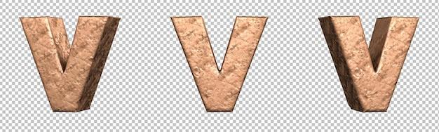 Letra v do conjunto de coleta de alfabeto de letras de cobre. isolado. renderização 3d