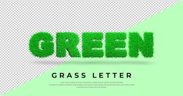 Letra verde com grama 3d isolada