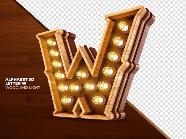 Letra w 3d render madeira com luzes realistas