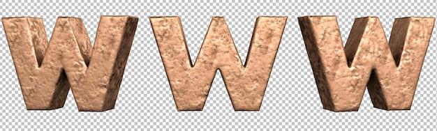 Letra w do conjunto de coleta de alfabeto de letras de cobre. isolado. renderização 3d