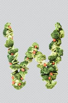Letra w. estilo de vida e nutrição saudáveis. alfabeto ingles. texto dos produtos. brócolis, aspargos, cenouras. fonte do designer. fonte vegetal. psd