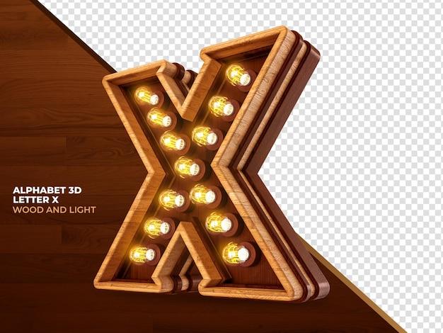 Letra x 3d renderização de madeira com luzes realistas